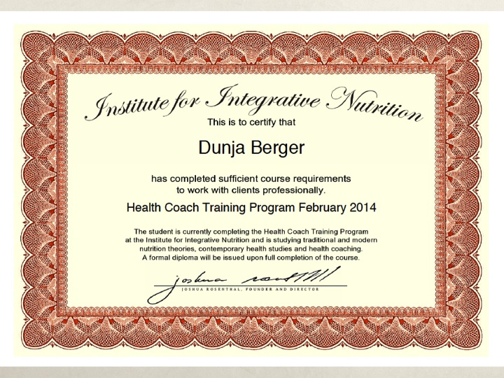 Dunja Berger Health Coaching Certificate